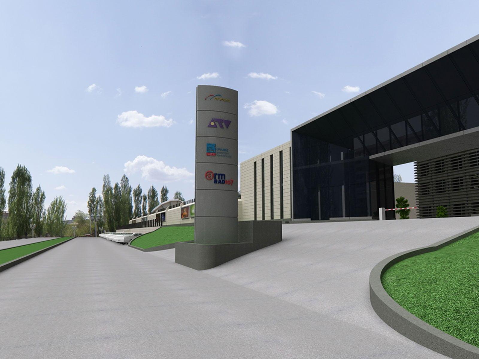 """kartinka vizualizatsii (pod""""yezdnaya estakada) zdaniya i territorii Armenia-TV"""