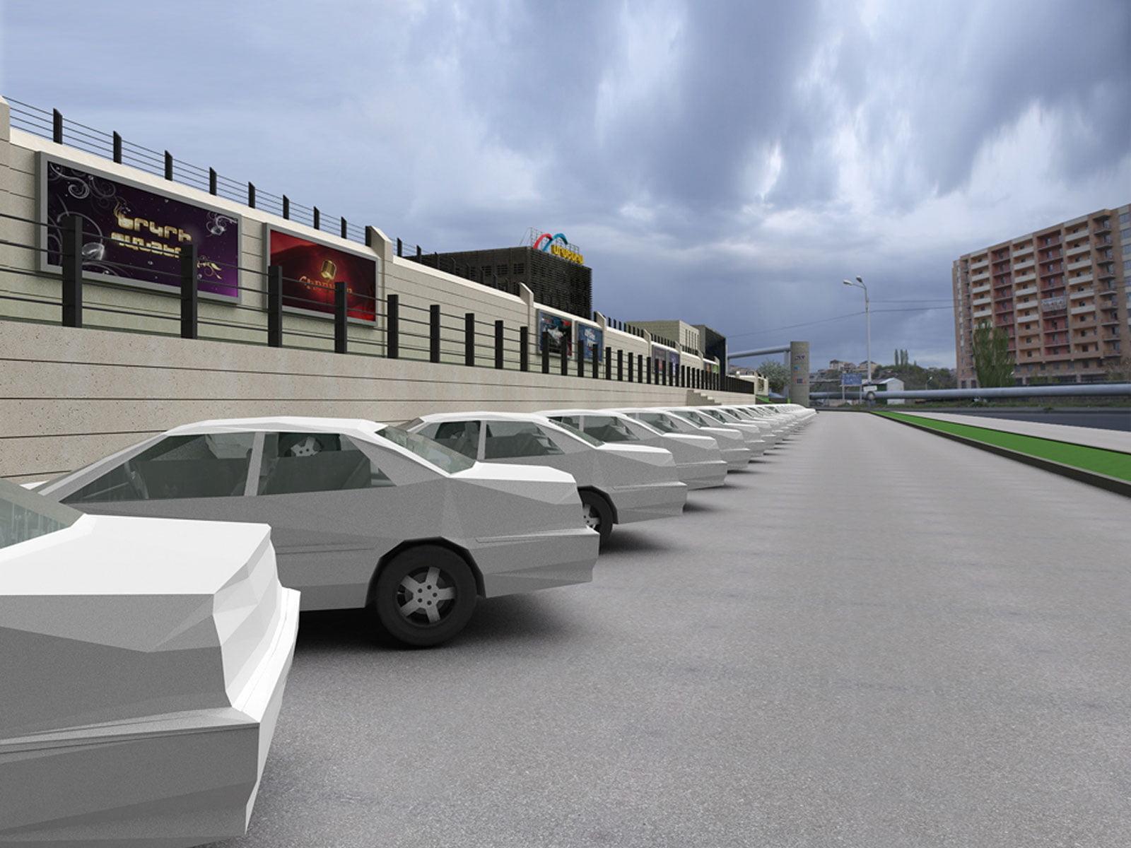 kartinka vizualizatsii (parking) zdaniya i territorii Armenia-TV