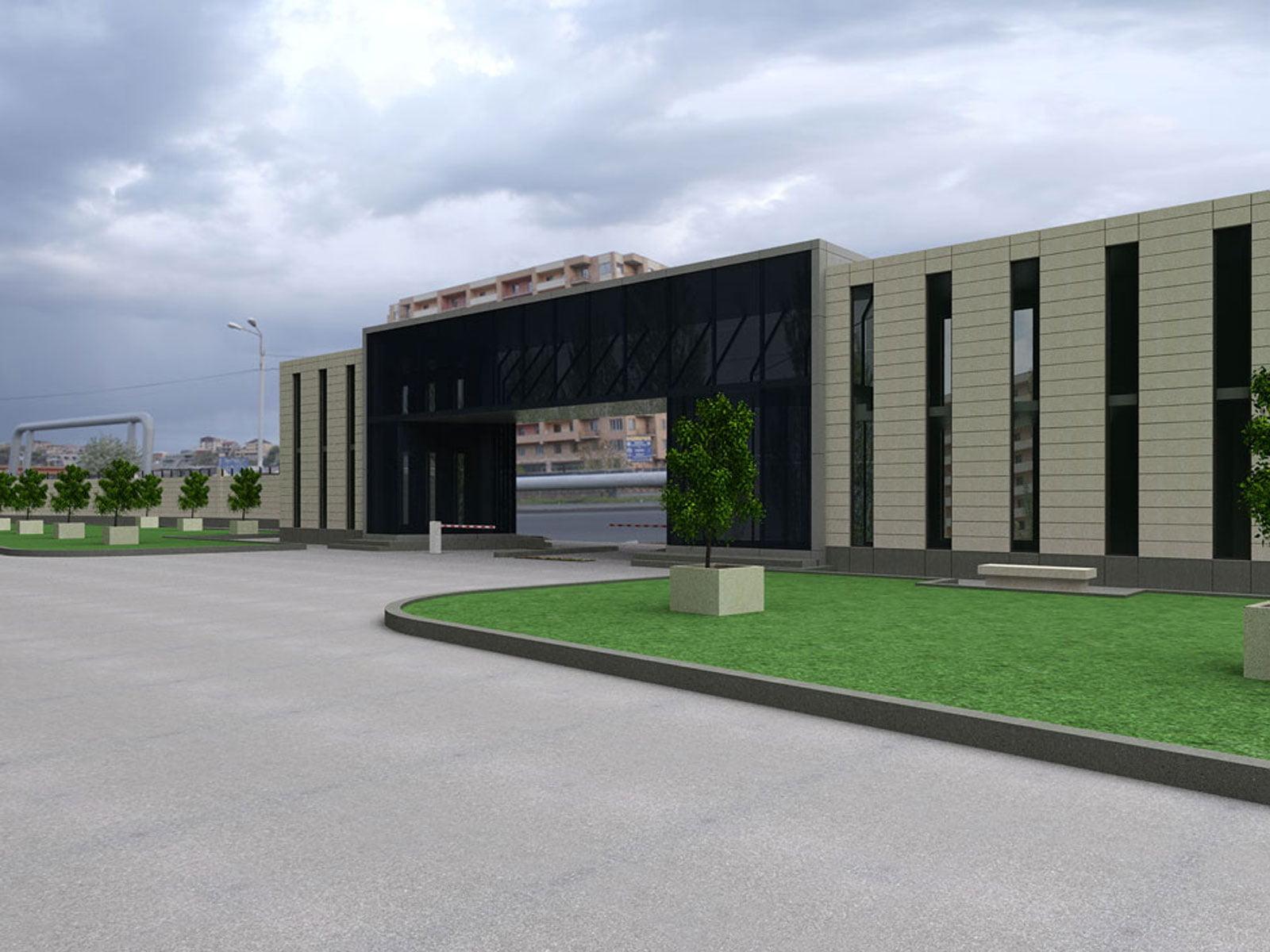 kartinka vizualizatsii proyekta rekonstruktsii zdaniya Armenia-TV Vid na zdaniye obshchiy 1