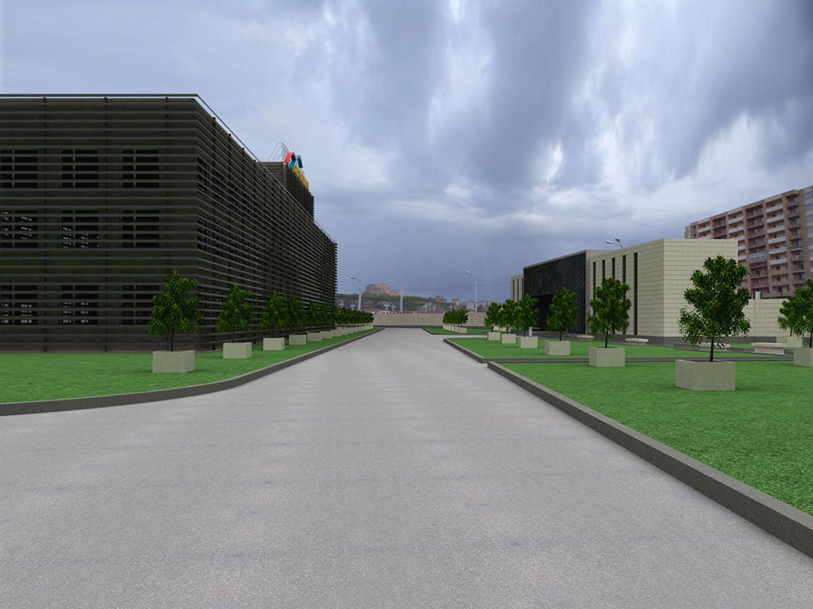 kartinka vizualizatsii proyekta po rekonstruktsii zdaniy i territorii Armenia-TV