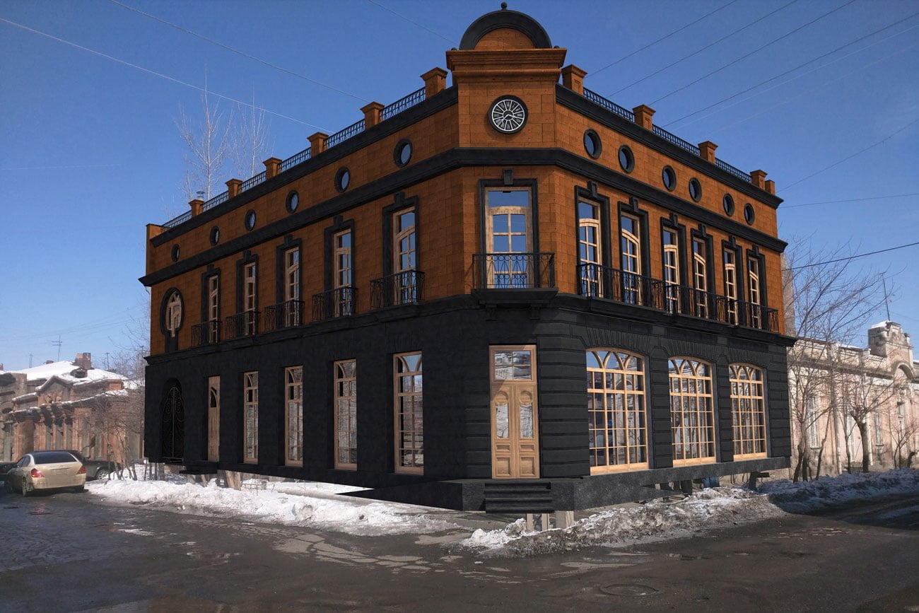 kartinka vizualizatsii zdaniya (vneshniy vid) dlya restorana FLORANS v Gyumri, Armeniya