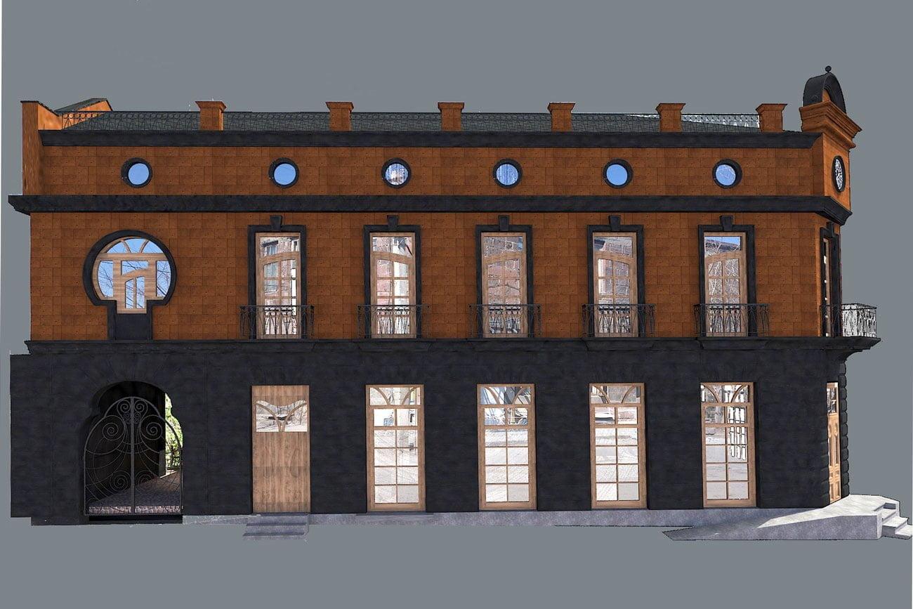 kartinka vizualizatsii zdaniya (zapadnyy fasad) dlya restorana FLORANS v Gyumri
