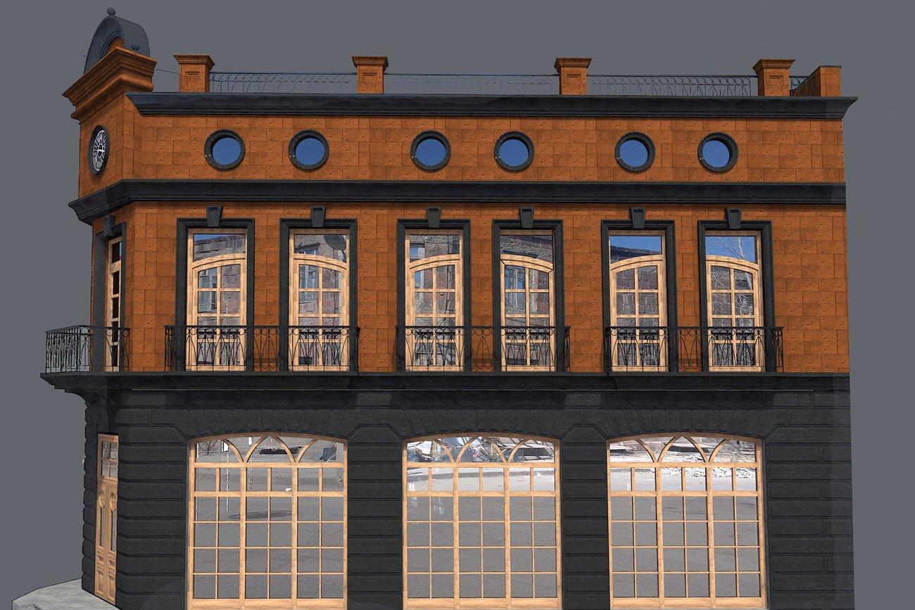 kartinka vizualizatsii zdaniya (vostochnyy fasad) dlya restorana FLORANS v Gyumri