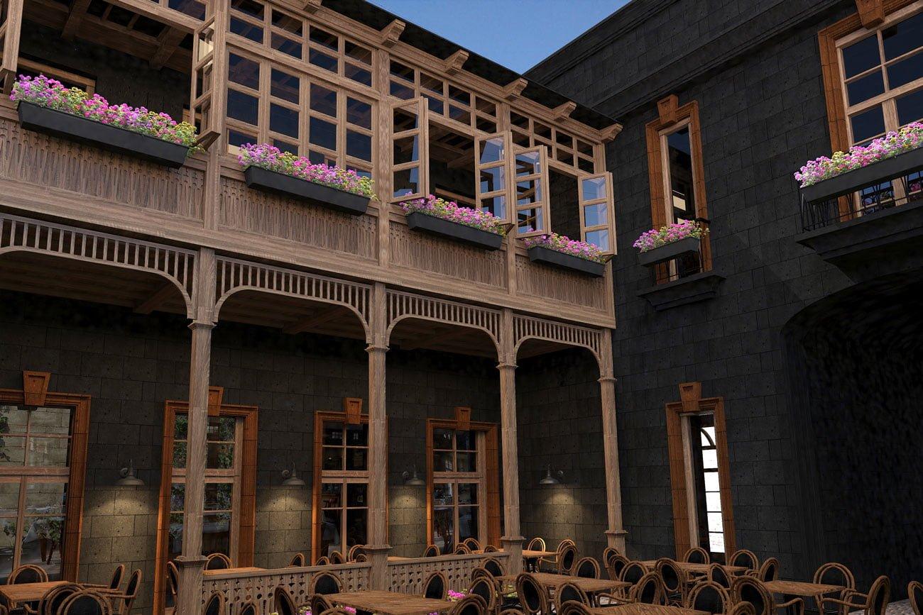 kartinka (vid s terrasy) proyekta Armyanskogo restorana FLORANS v Gyumri, Armeniya