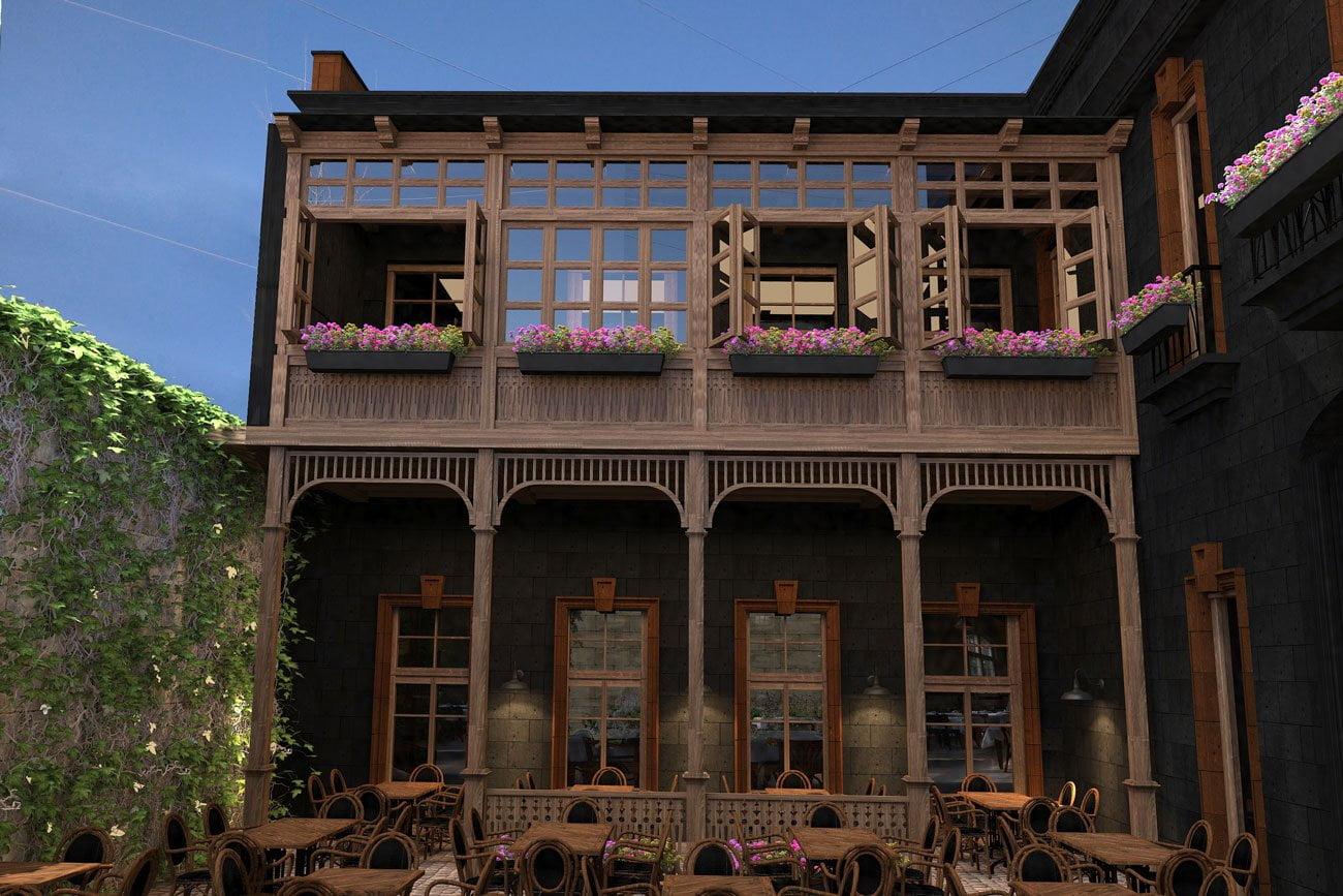 fotografiya otkrytoy terrasy Armyanskogo restorana i paba FLORANS v Gyumri, Armeniya