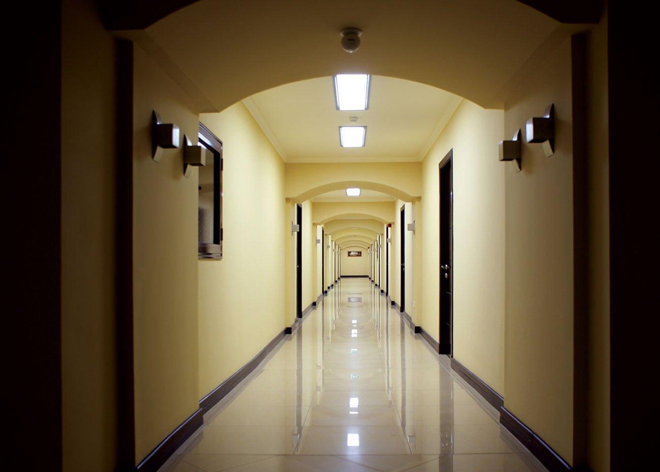 один из коридоров со входами в офисы в ЭРЕБУНИ ПЛАЗА Бизнес центр класса люкс