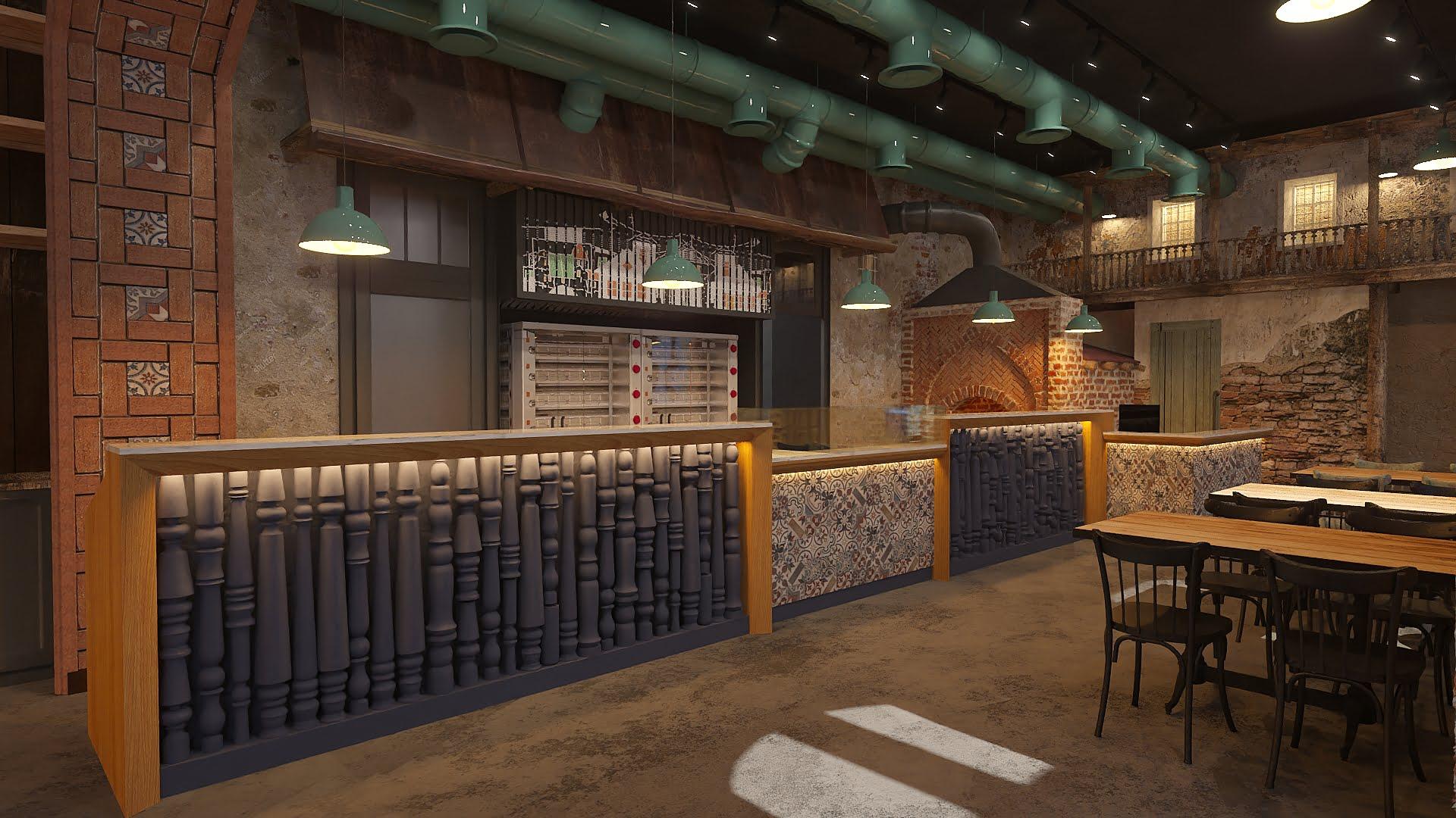 izobrazheniye 3d oformleniya i otdelki inter'yera gril' i bar zon v restorane KTUR