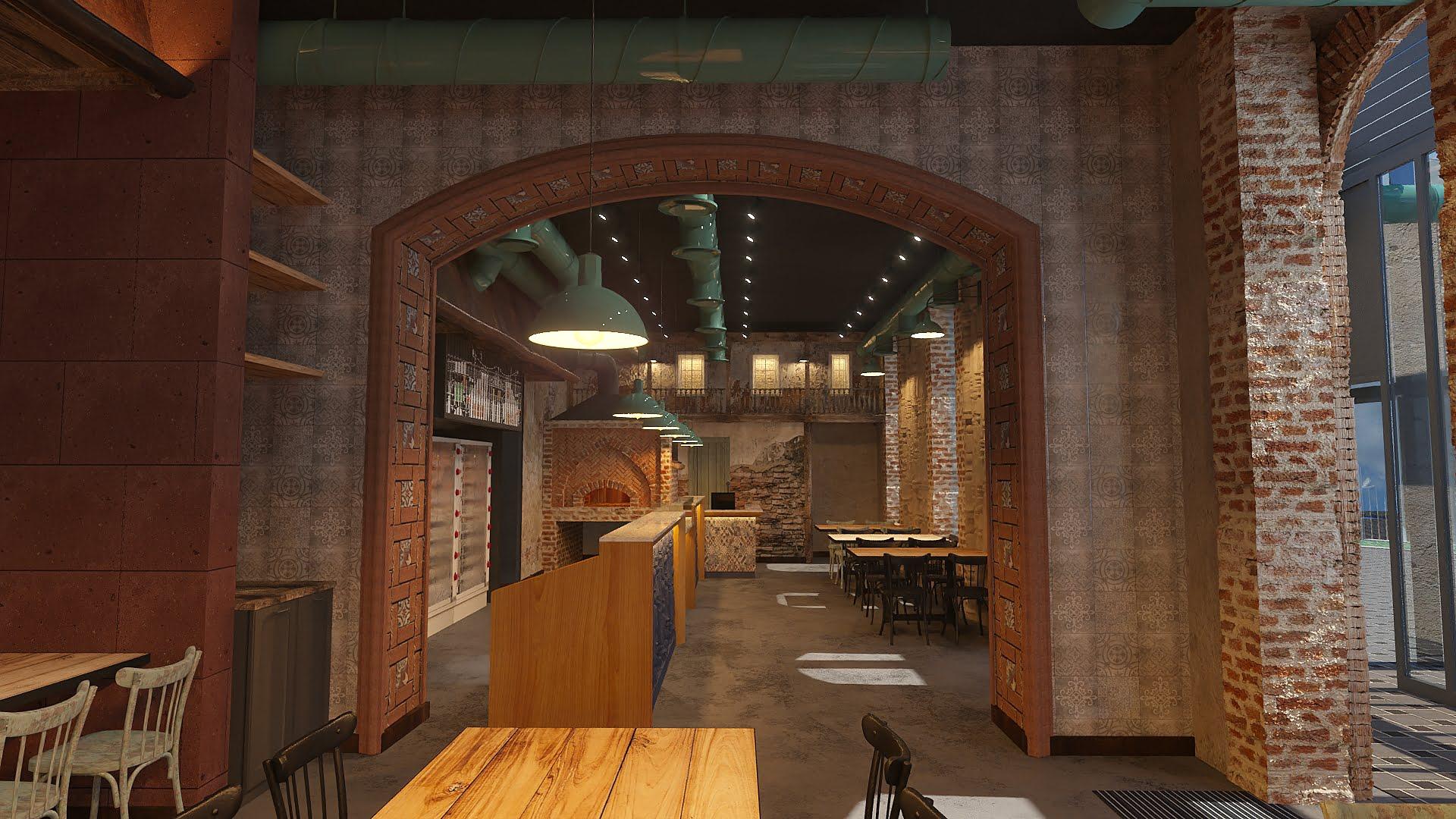 izobrazheniye 3d otdelki inter'yera obshchego gostevogo zala v restorane KTUR, Yerevan