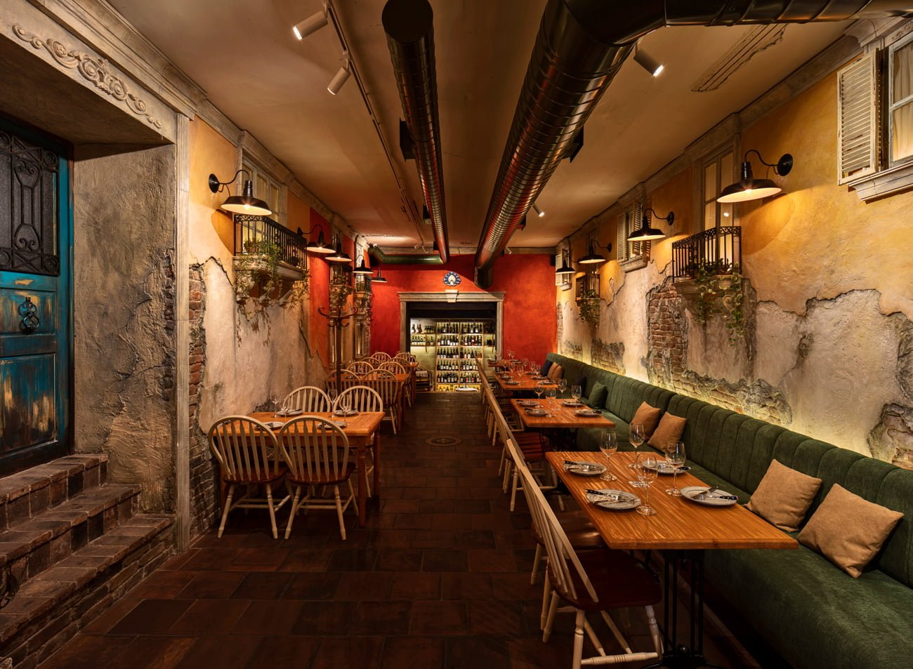photo of the interior of the main hall a small street in Italy restaurant design IMAGEMAN