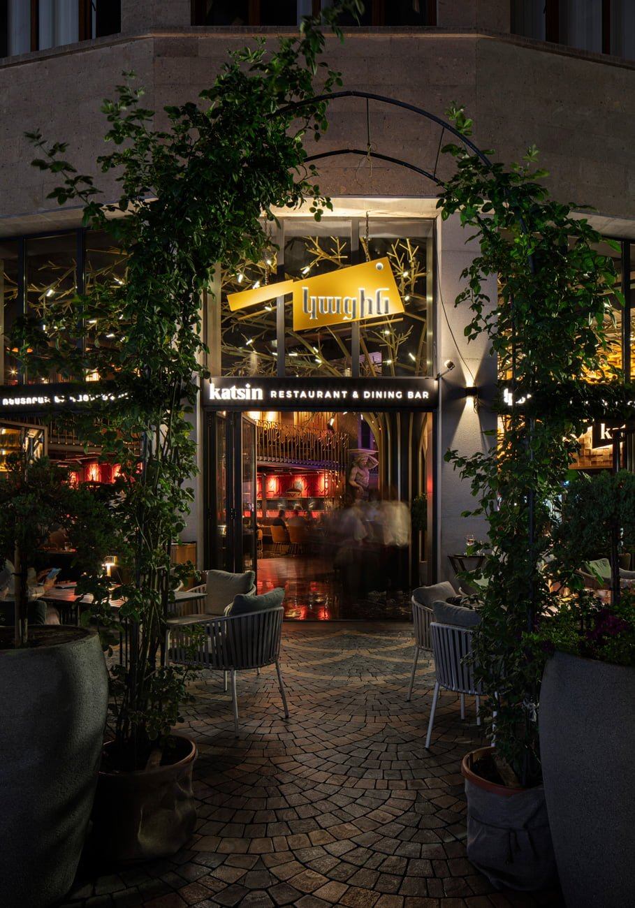 photos of the design and decoration of the entrance group to the new restaurant KATSIN with a summer terrace